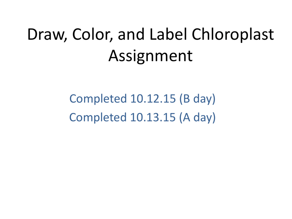 Draw Color And Label Chloroplast Assignment