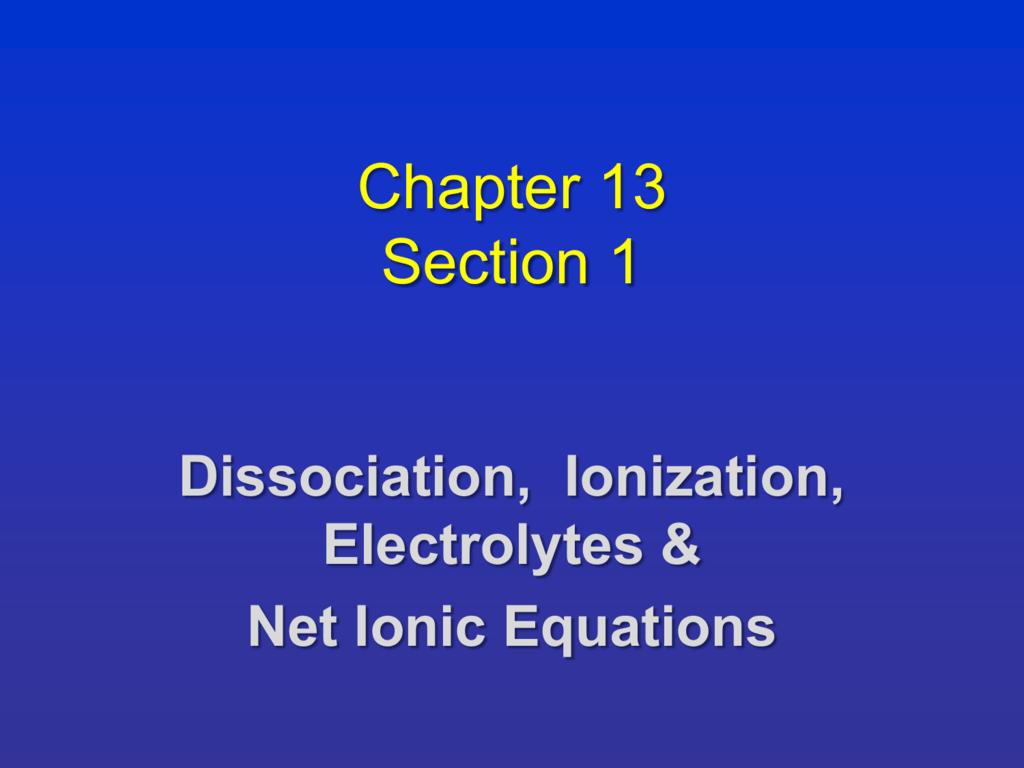 Net Ionic Equation