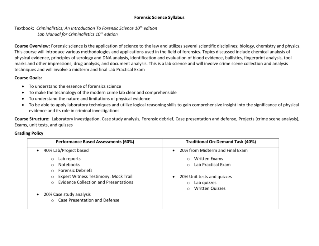 Forensic Science Syllabus Student Version2