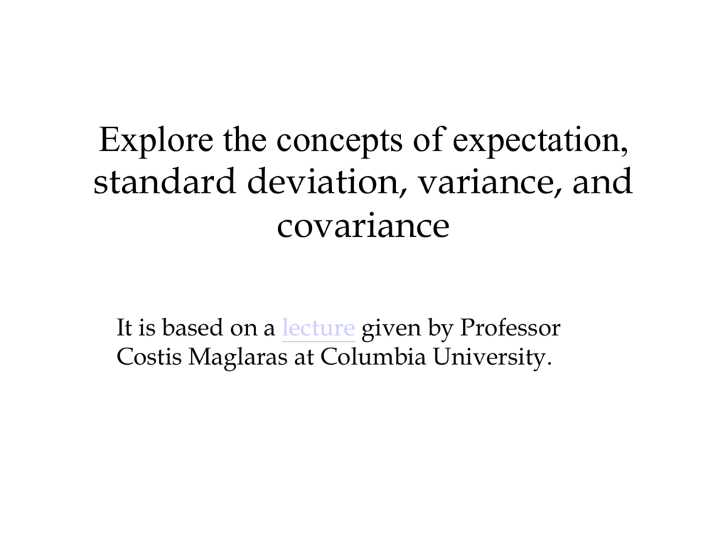 Standard Deviation Variance And Covariance