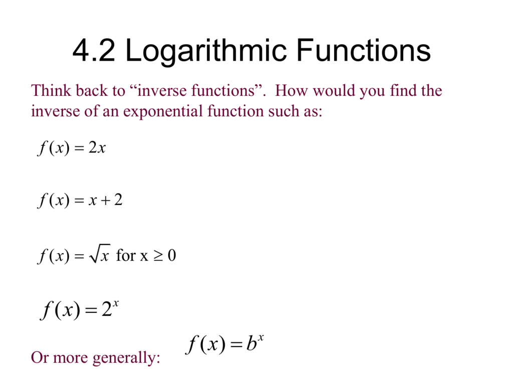 Chapter 7 Exponential And Logarithmic Functions Slader