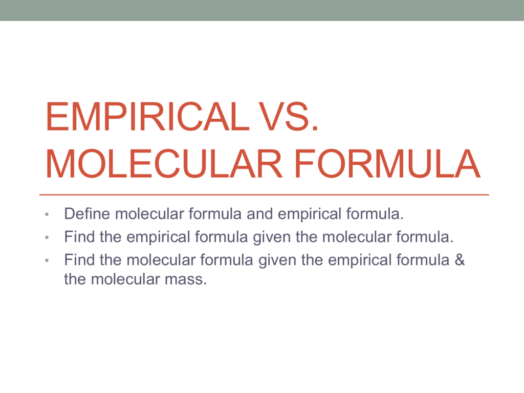 Molecular Vs Empirical Formula