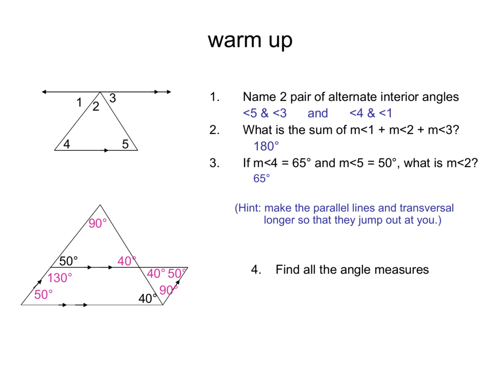 Triangle Sum Theorem Ex Angle Theorem