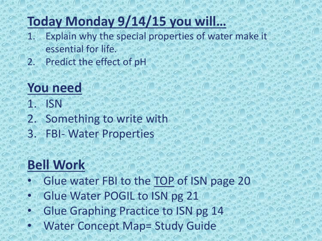 Properties Of Water Worksheet Pogil