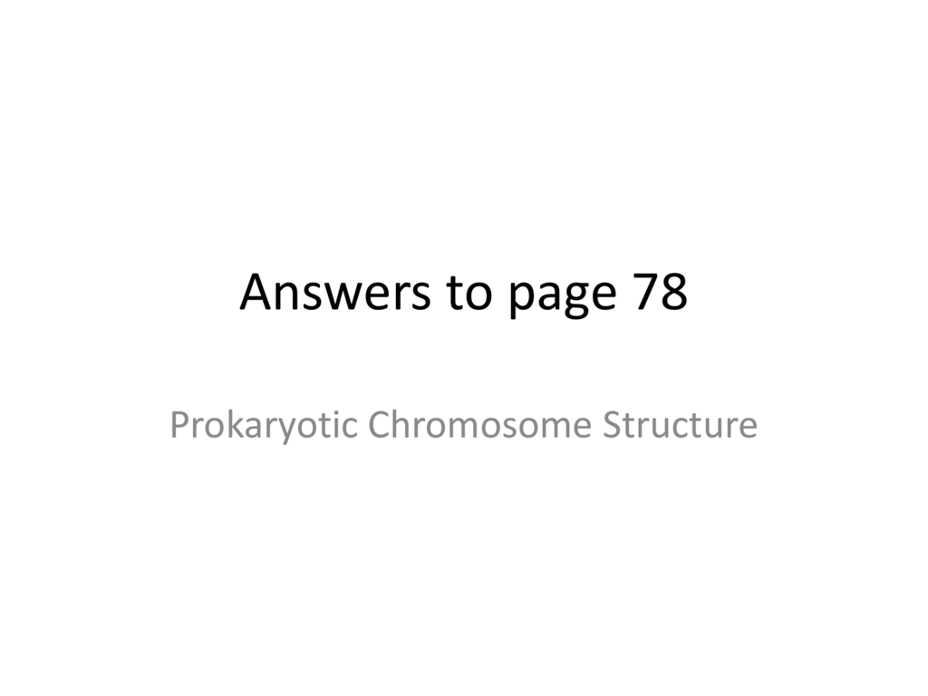 Answers To Prokaryotic Chromosome Structure And Alleles