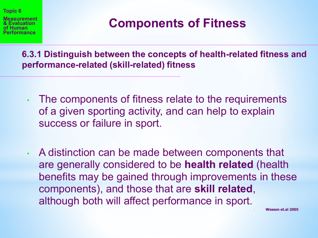 Components Of Fitness 6 3 2 Outline The Major