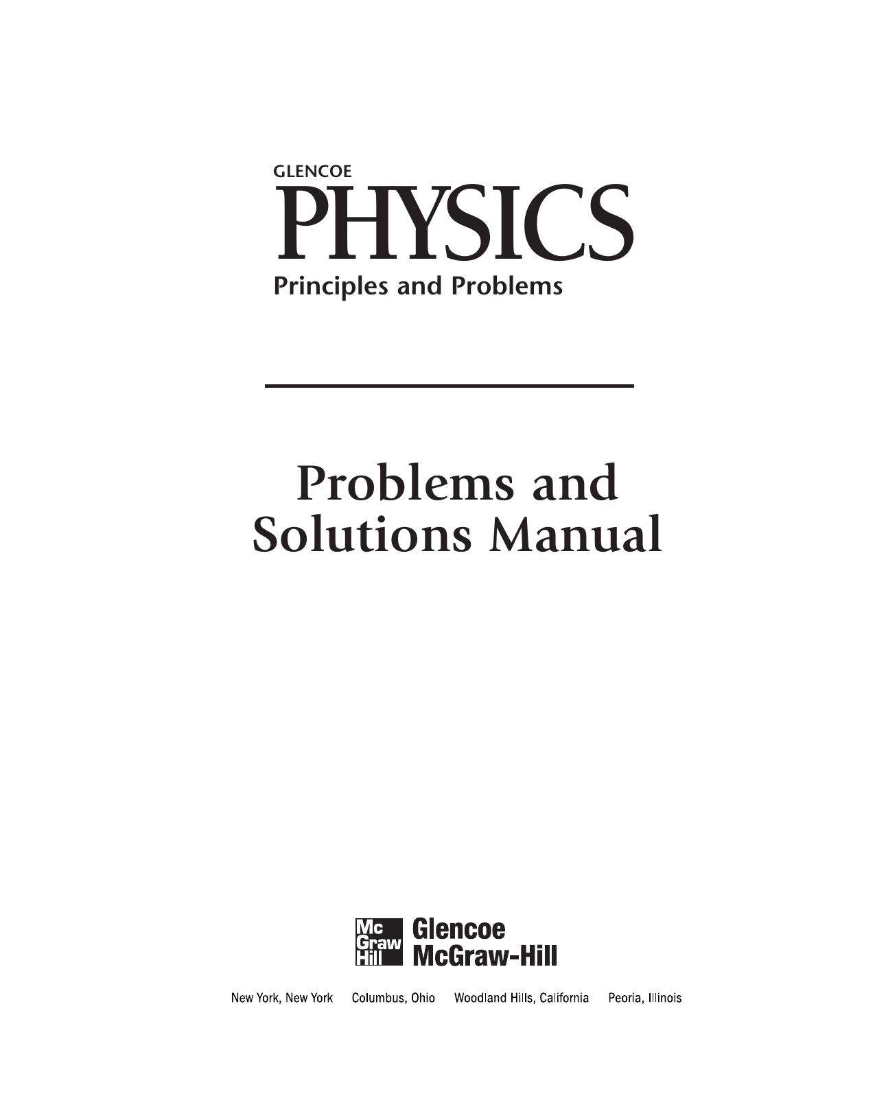 Glencoe Physics Principles And Problems Problems And