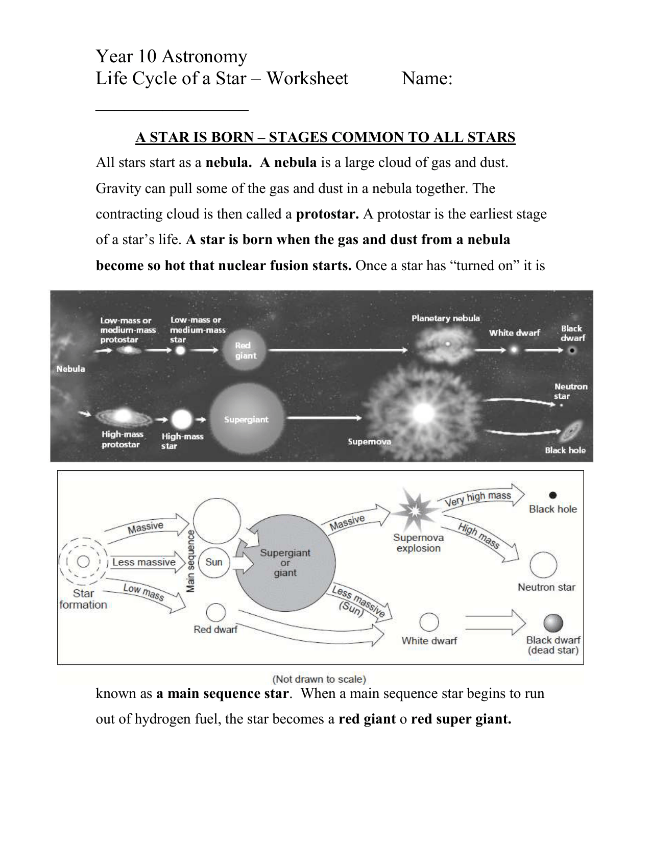 Life Cycle Of Stars Worksheet2