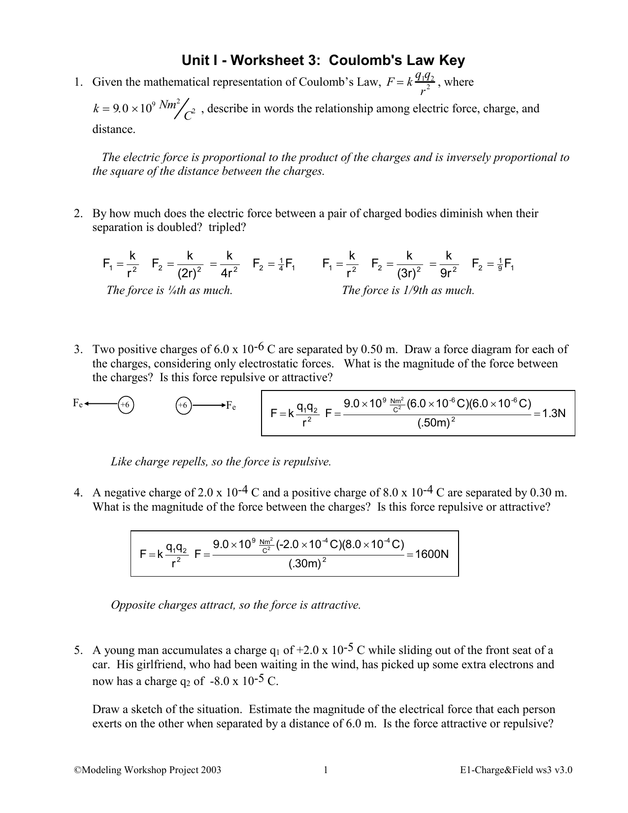 Coulombs Law Worksheet Answers 1