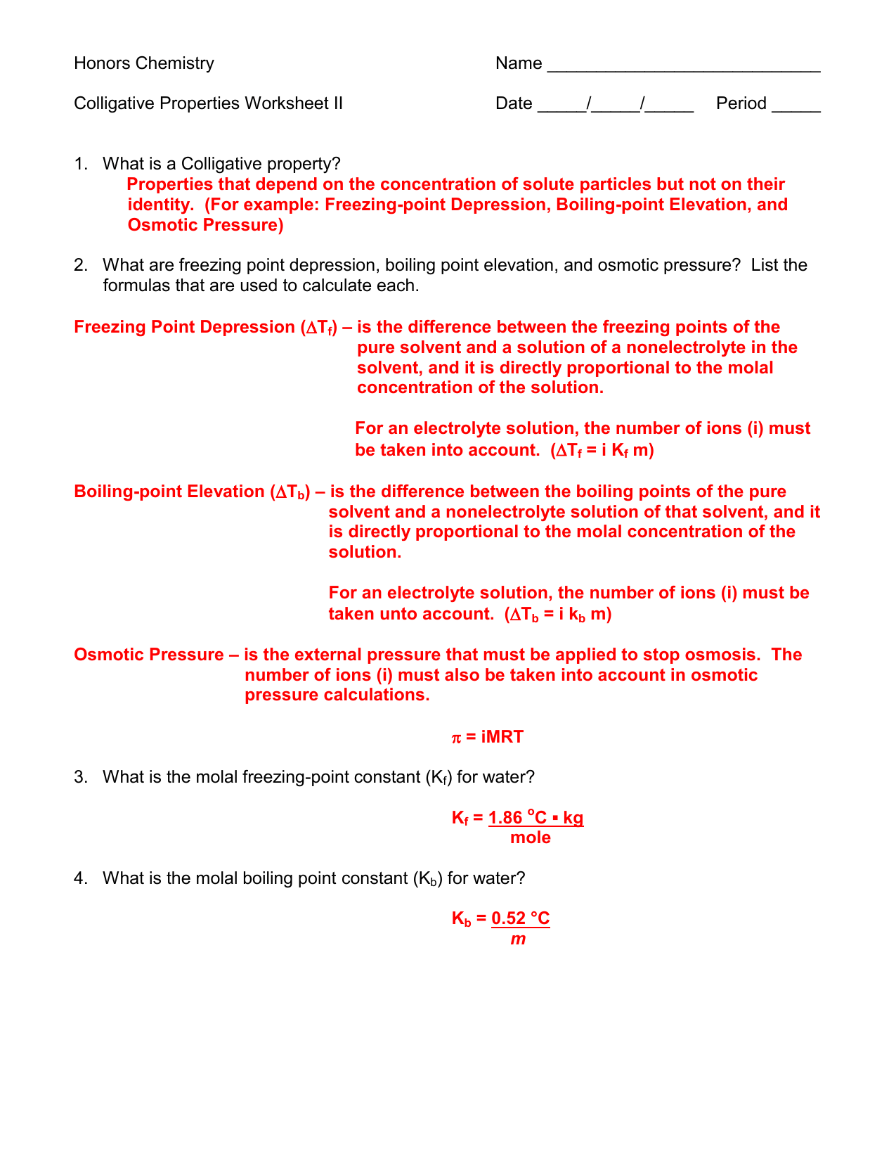 Freezing Point Depression Formula