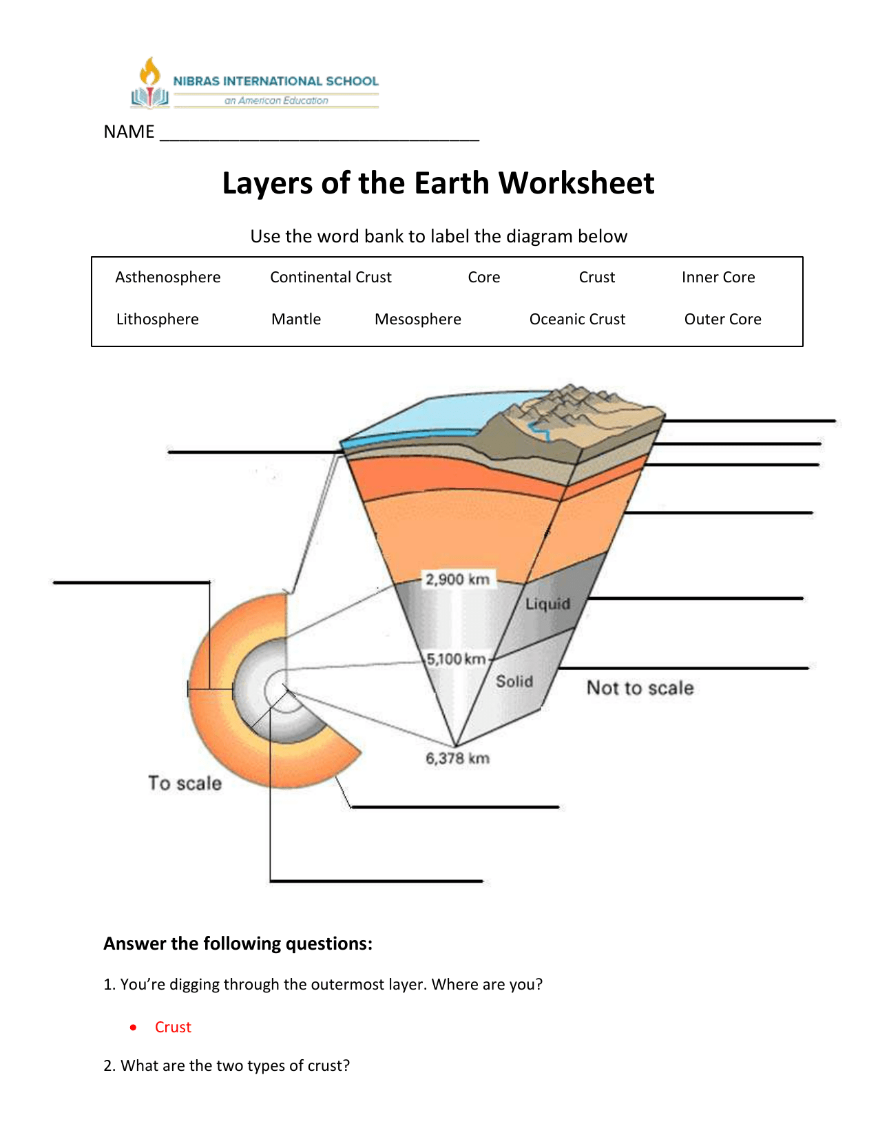 Earth S Interior Worksheet 2 Answers