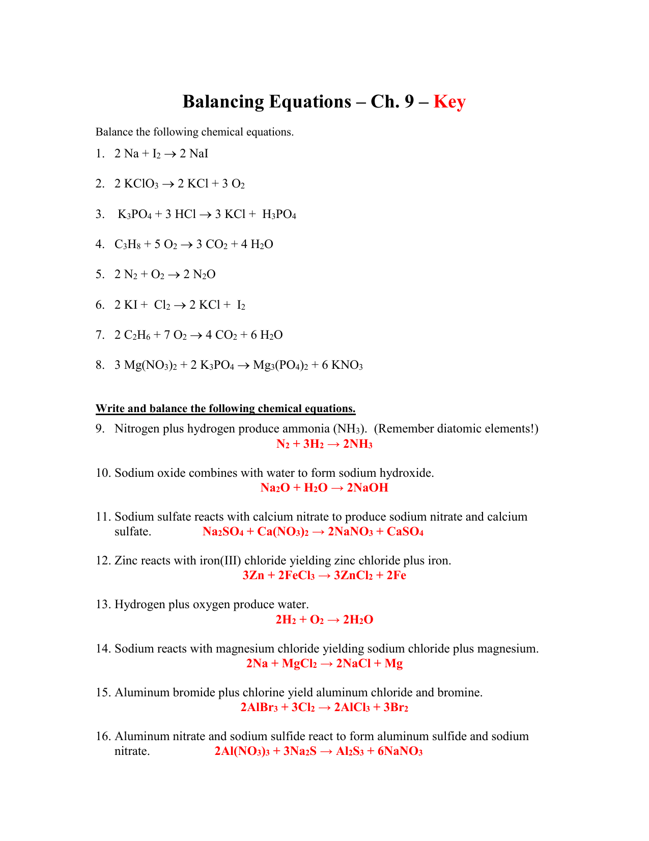 Balancing Equations Worksheet Kclo3