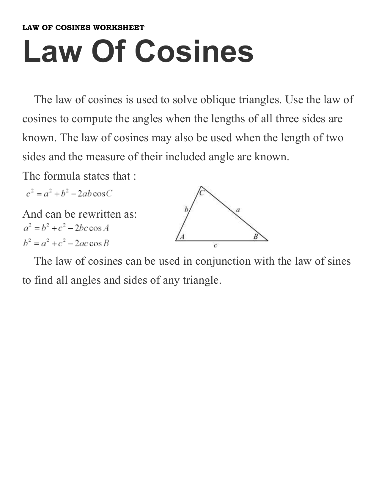 Law Of Cosines Worksheet