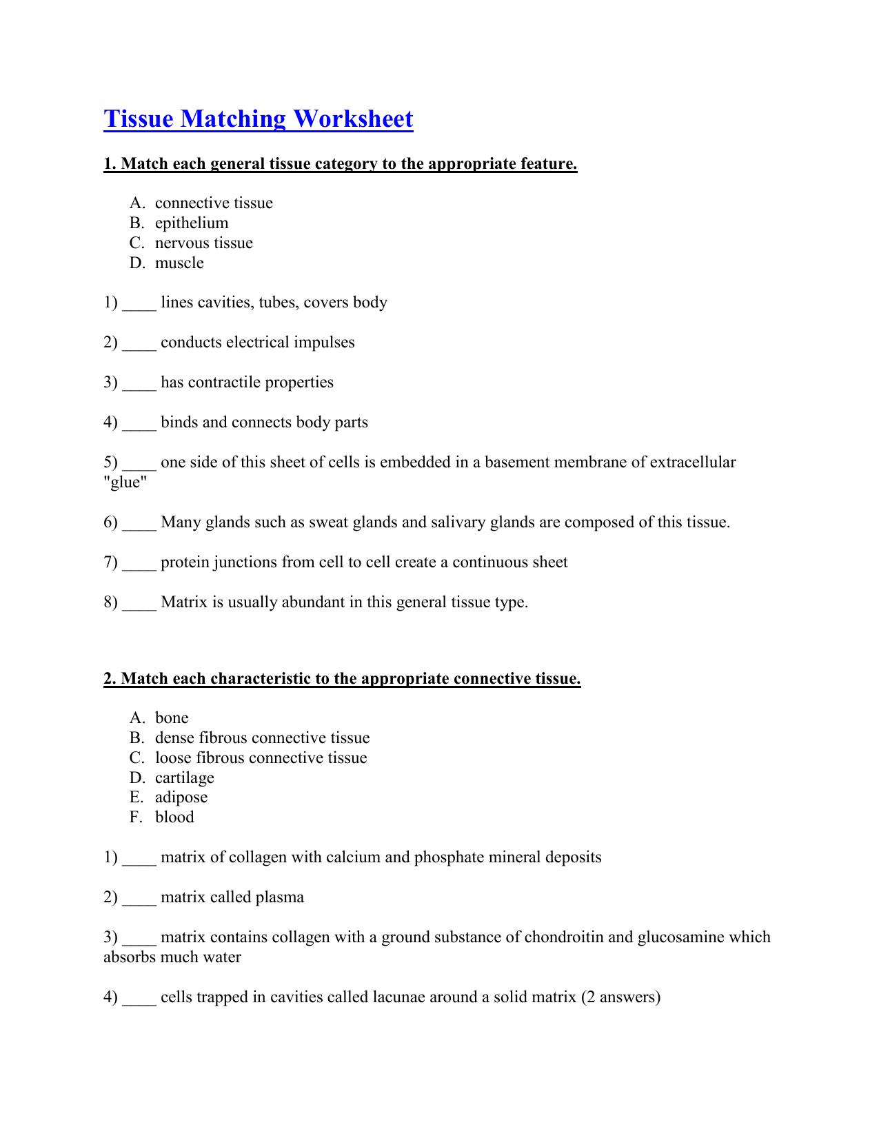 Tissue Matching Worksheet