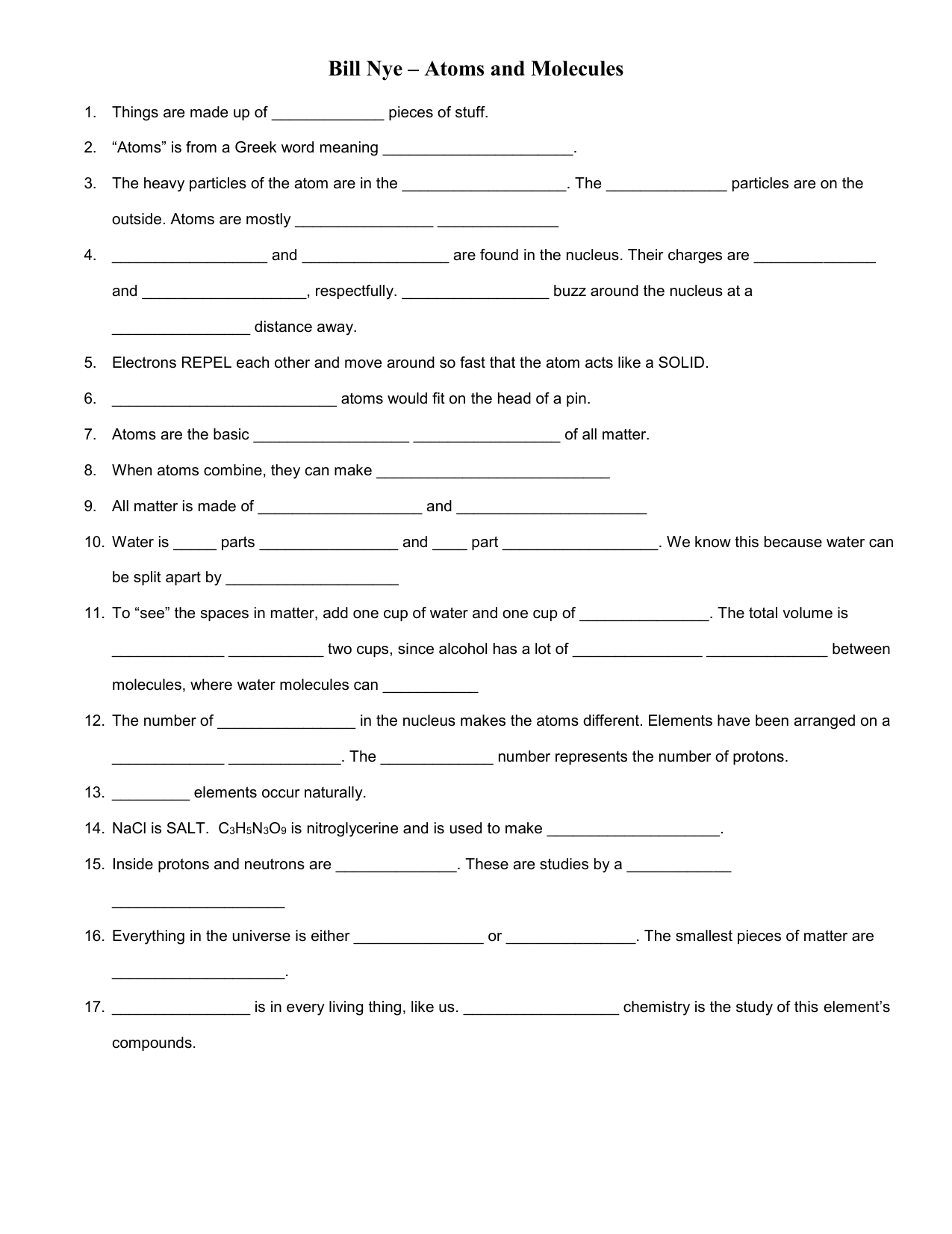 Printables Of Bill Nye Atoms Worksheet Answers