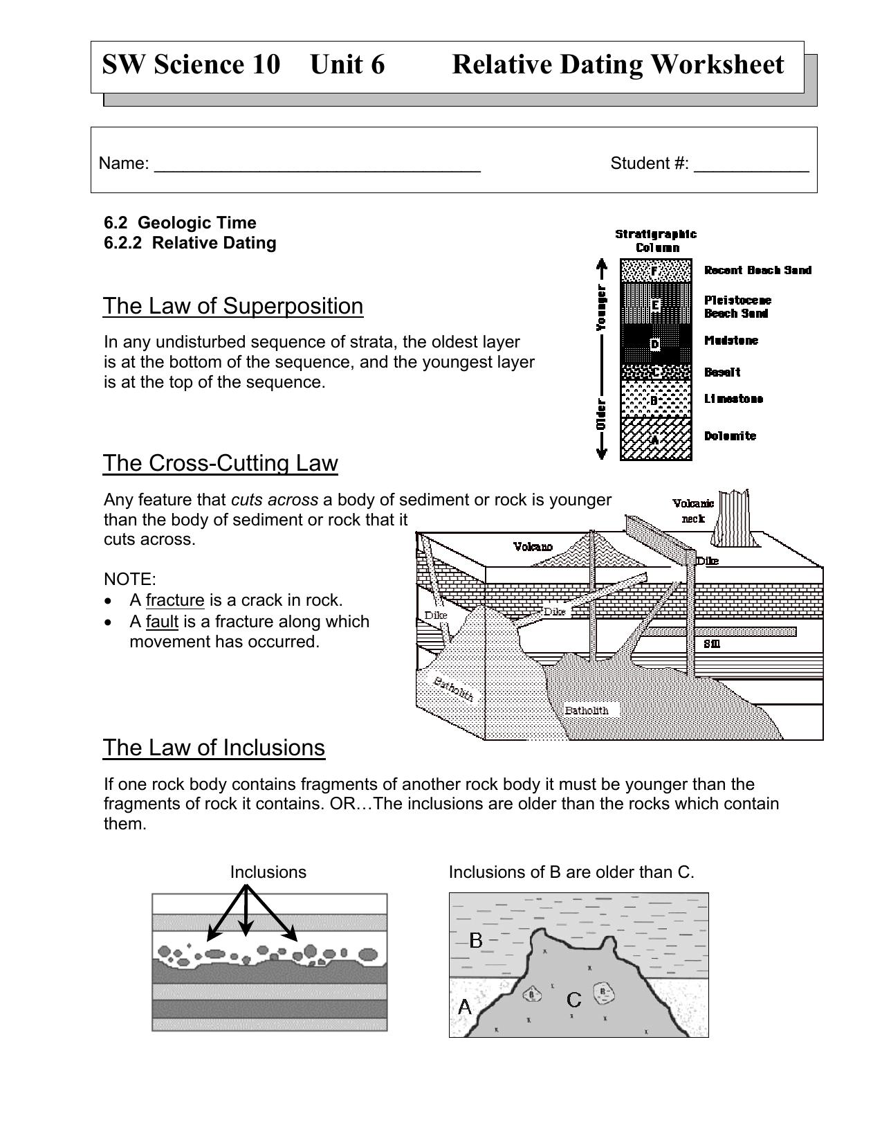Sw Science 10 Unit 6 Relative Dating Worksheet