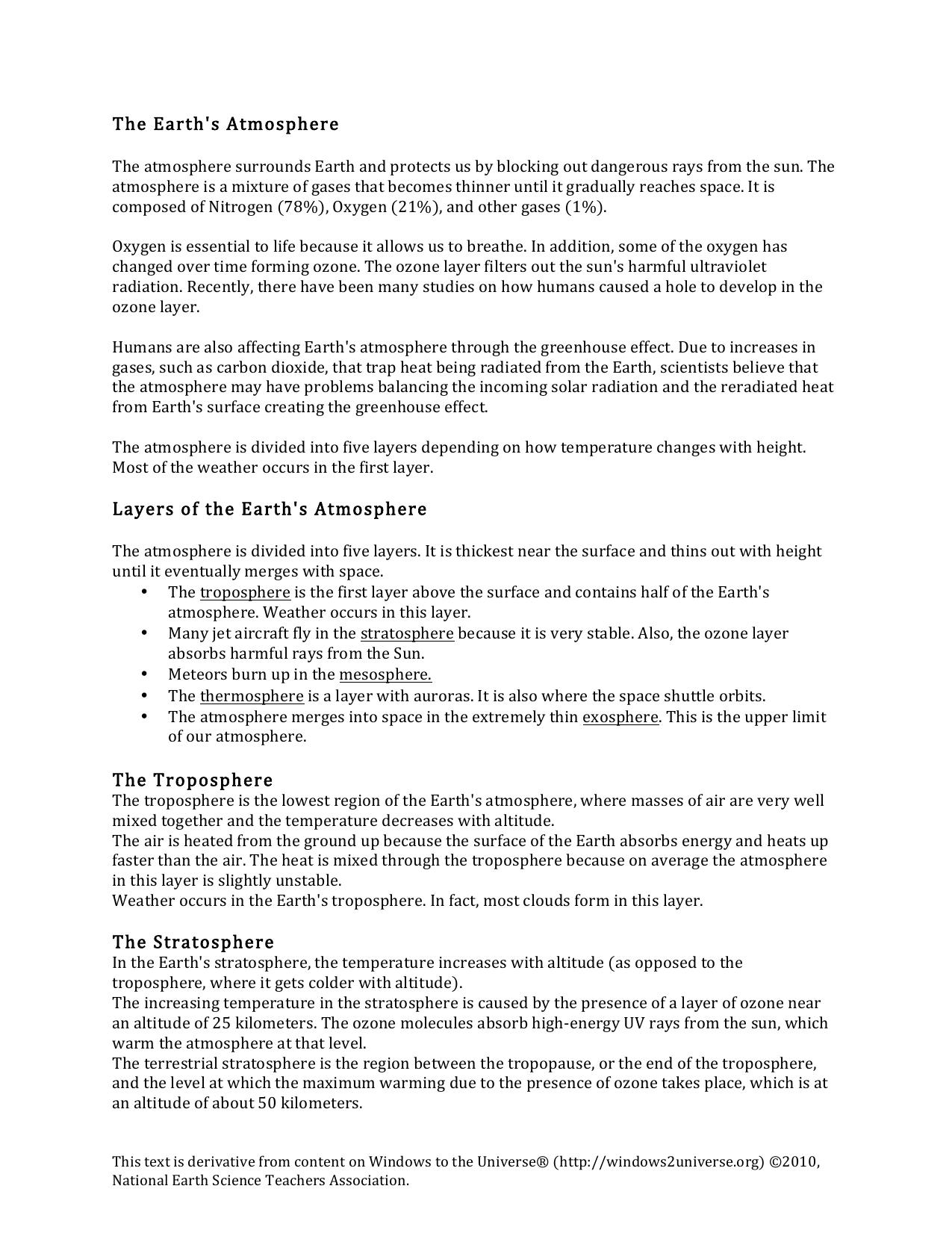 Atmospheres Student Worksheet