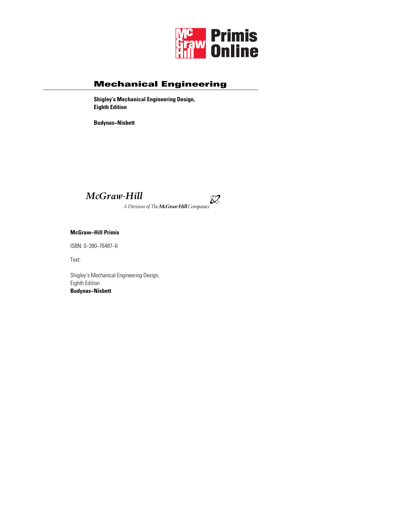 Mechanical Engineering Design 8th Ed