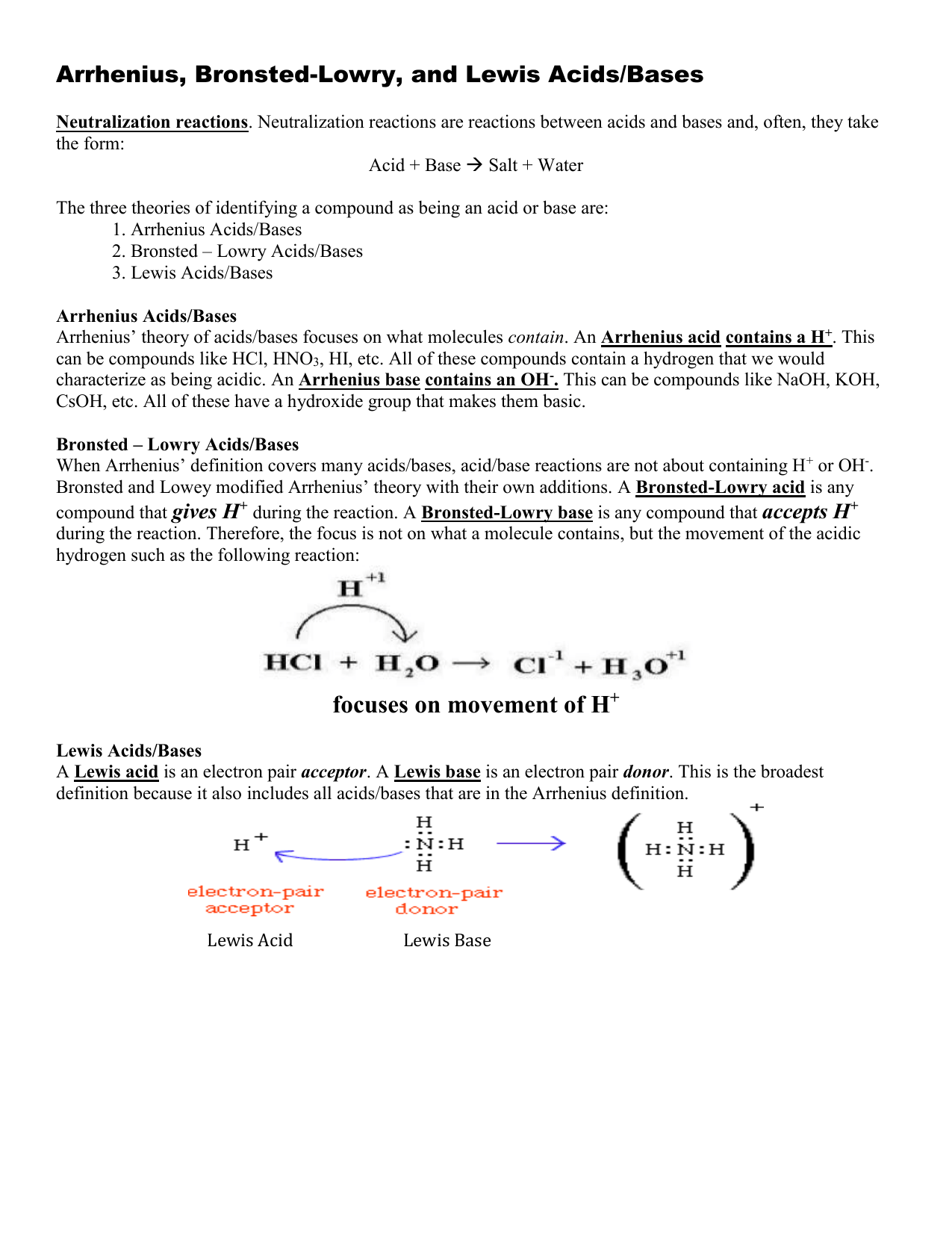Acid Base Packet 1