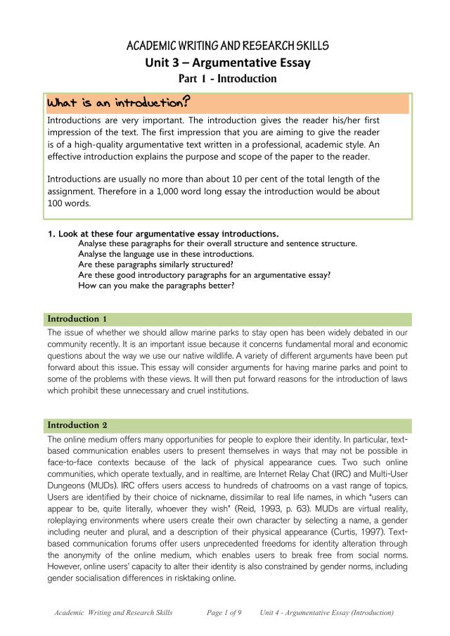 Argumentative Essay Introduction