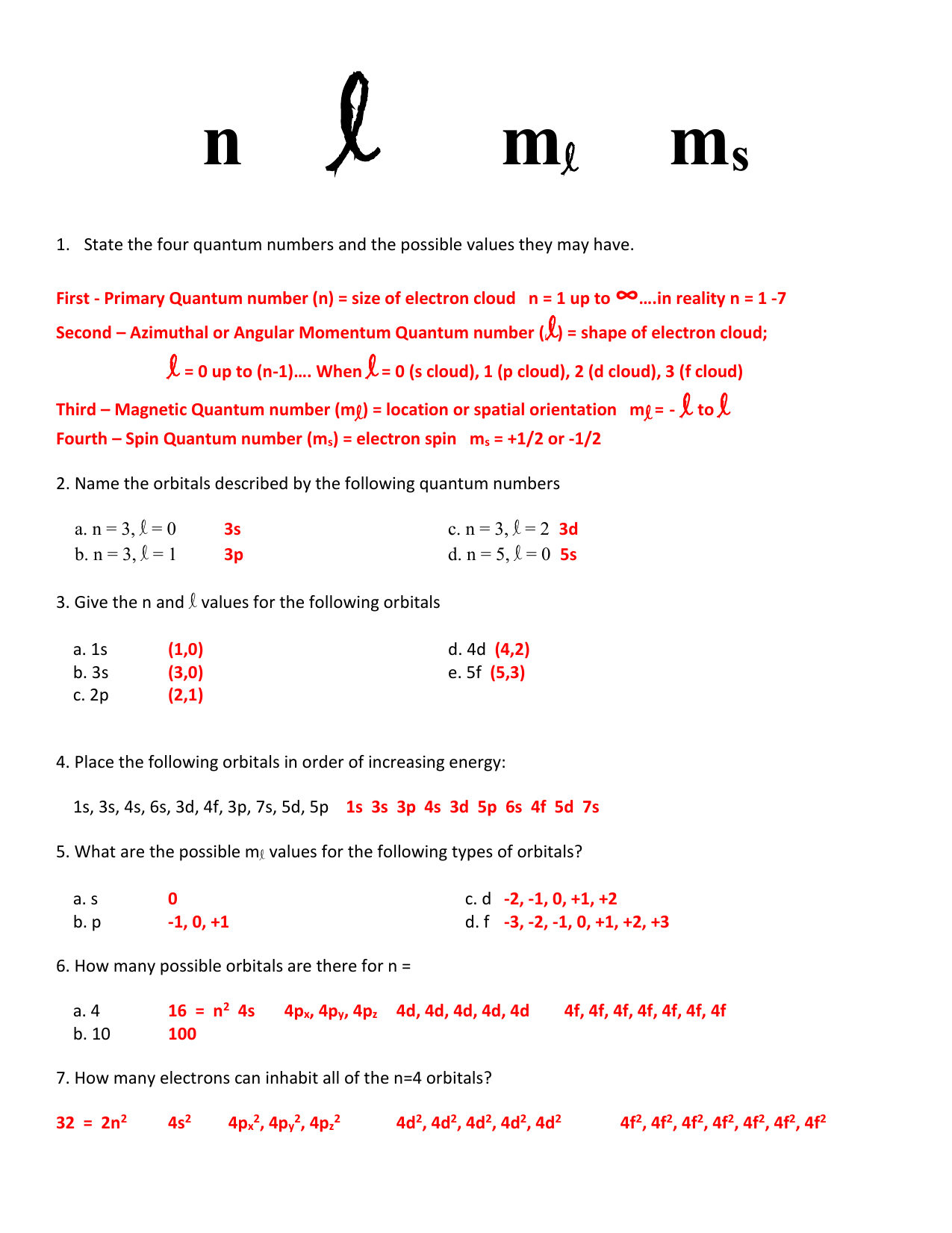 1 5 1 Quantum Numbers Worksheet Key