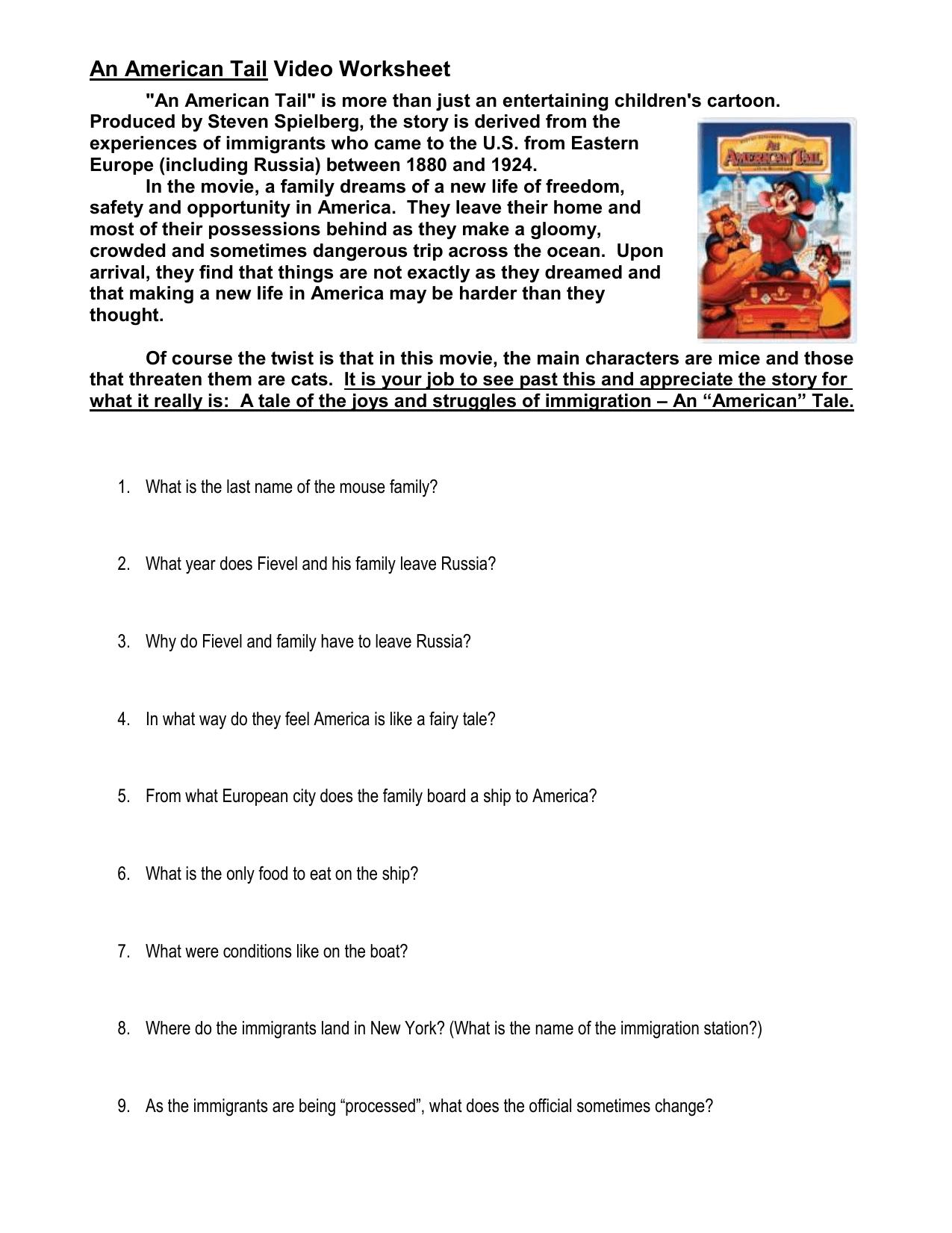 An American Tail Video Worksheet