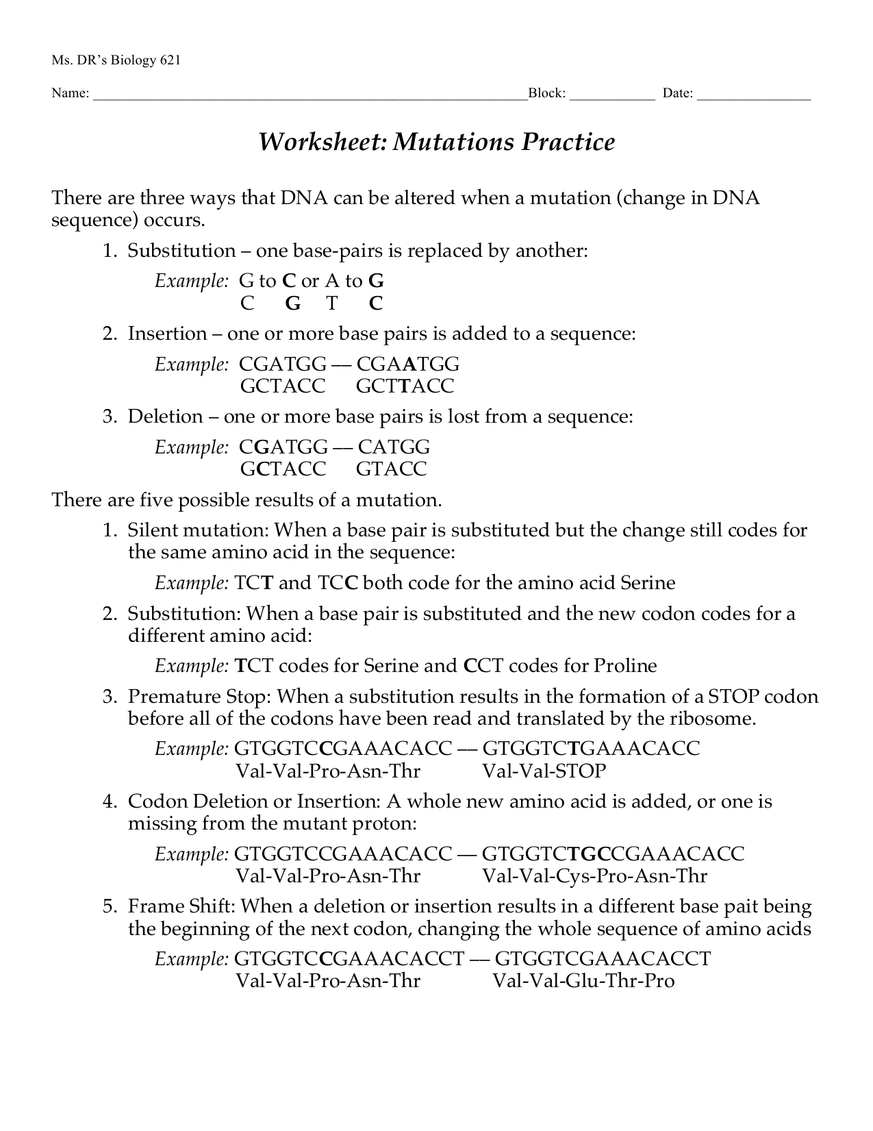 Mutations Worksheet