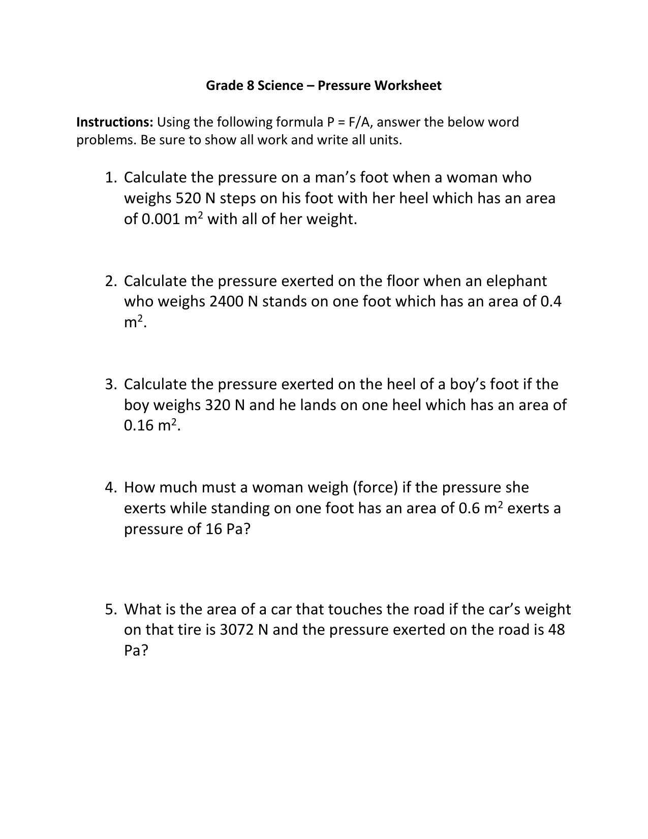 Pressure Worksheet 1