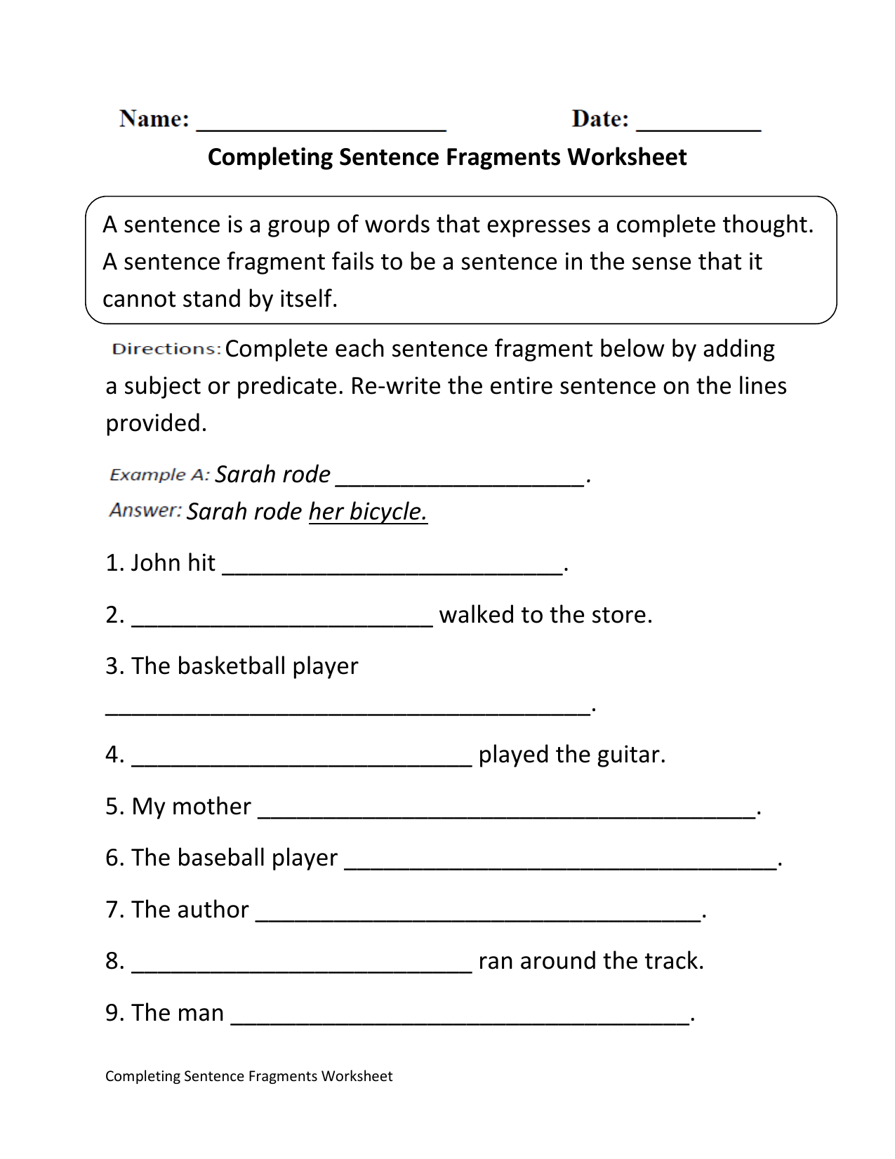 Completing Sentence Fragments 1 1