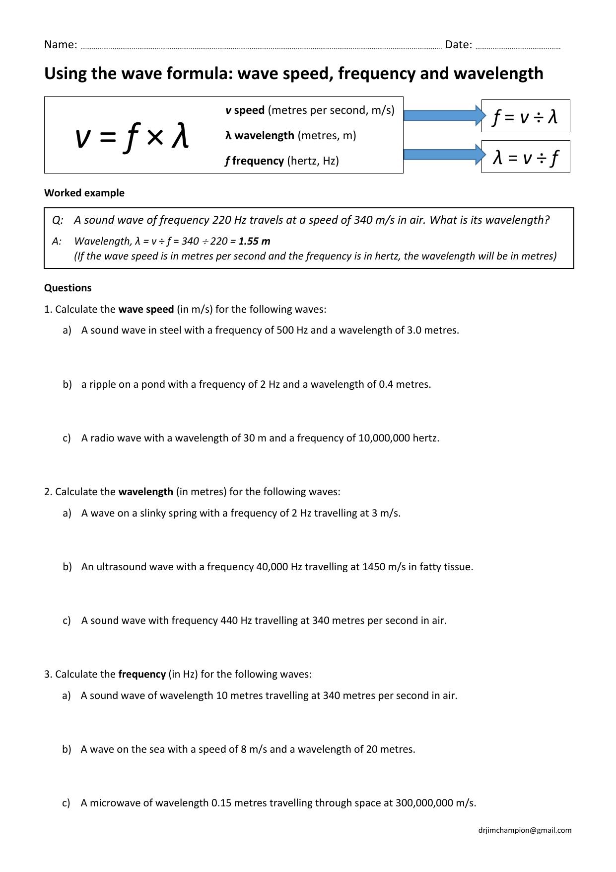 Wave Speed Equation Practice