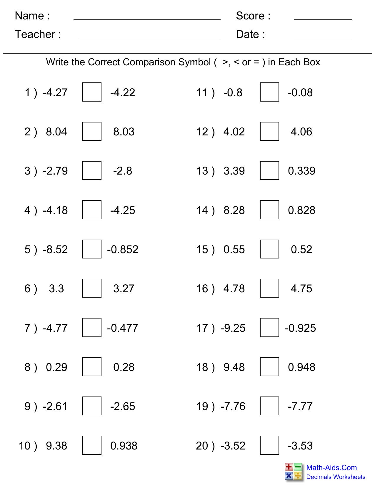 Comparing Decimals Practice