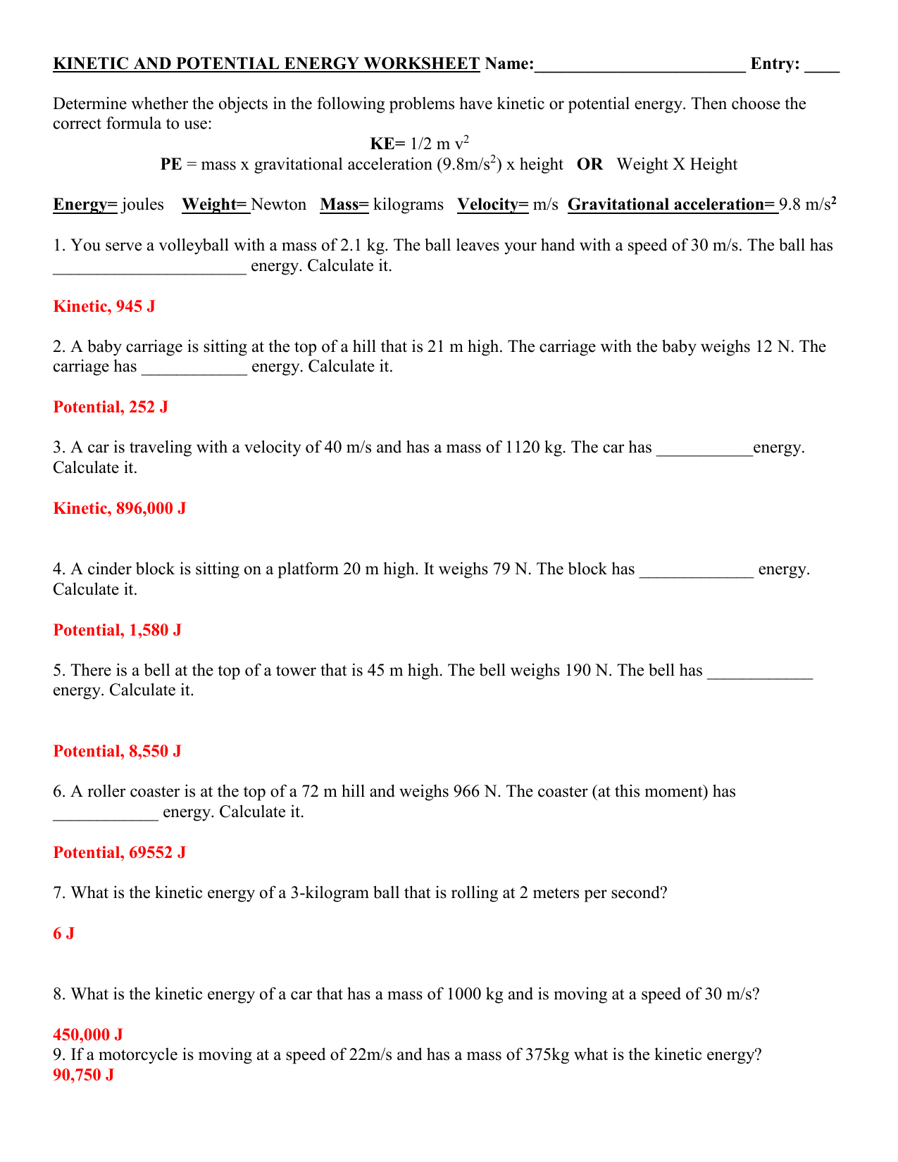 Pe And Ke Practice Key 1
