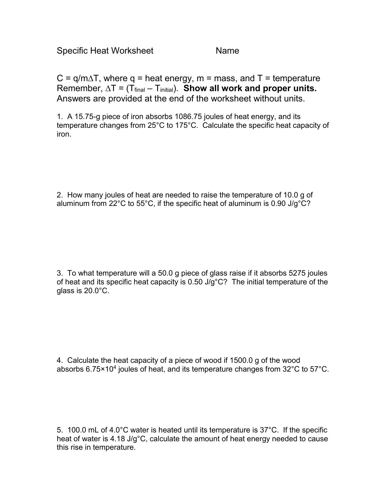 Specificheatworksheet 1