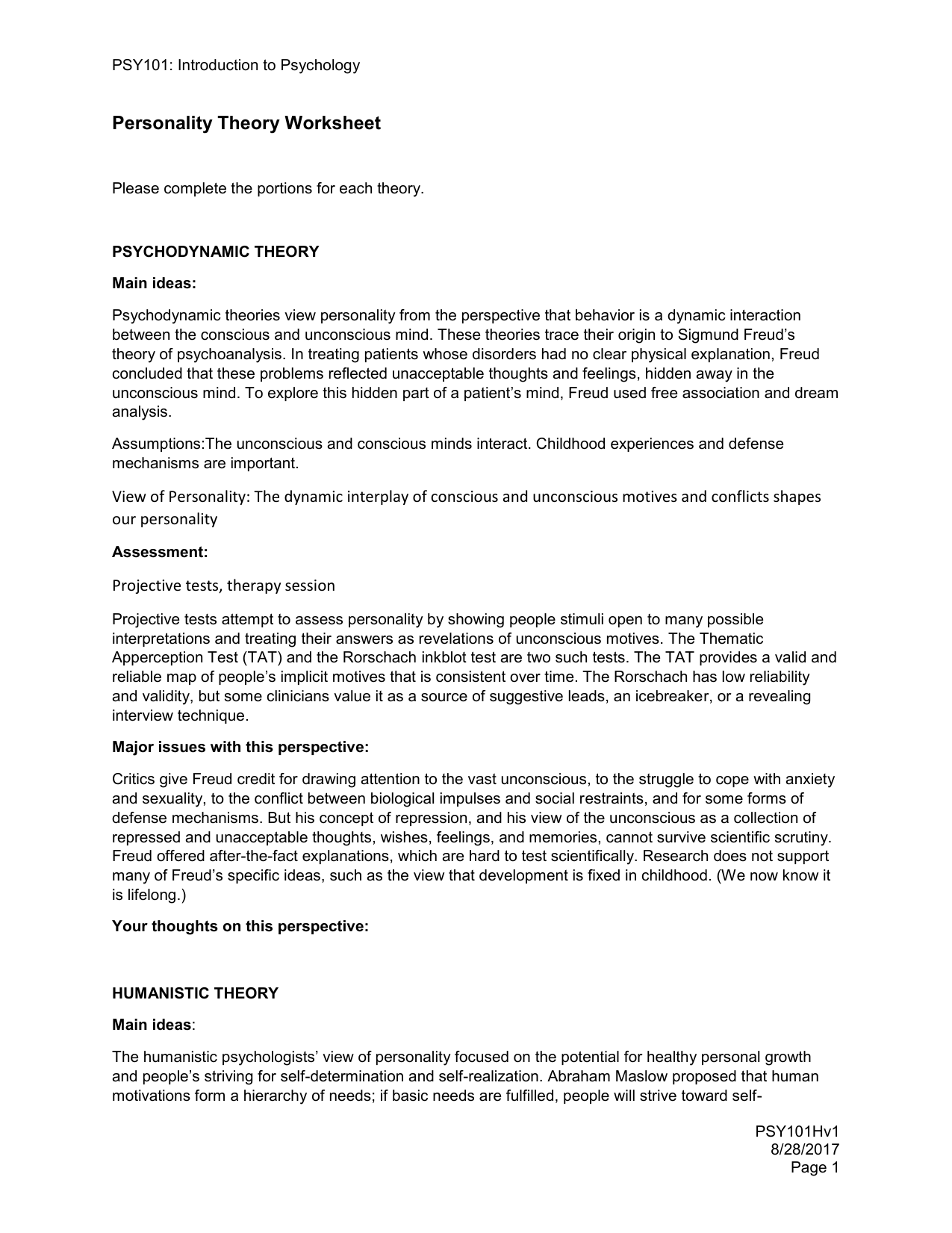 Psy101 Personality Theory Worksheet 1
