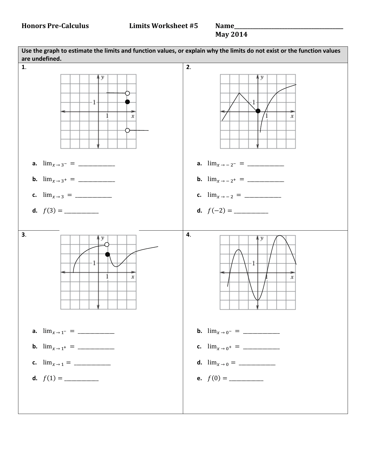 Limit Worksheet 5 With Answer Key