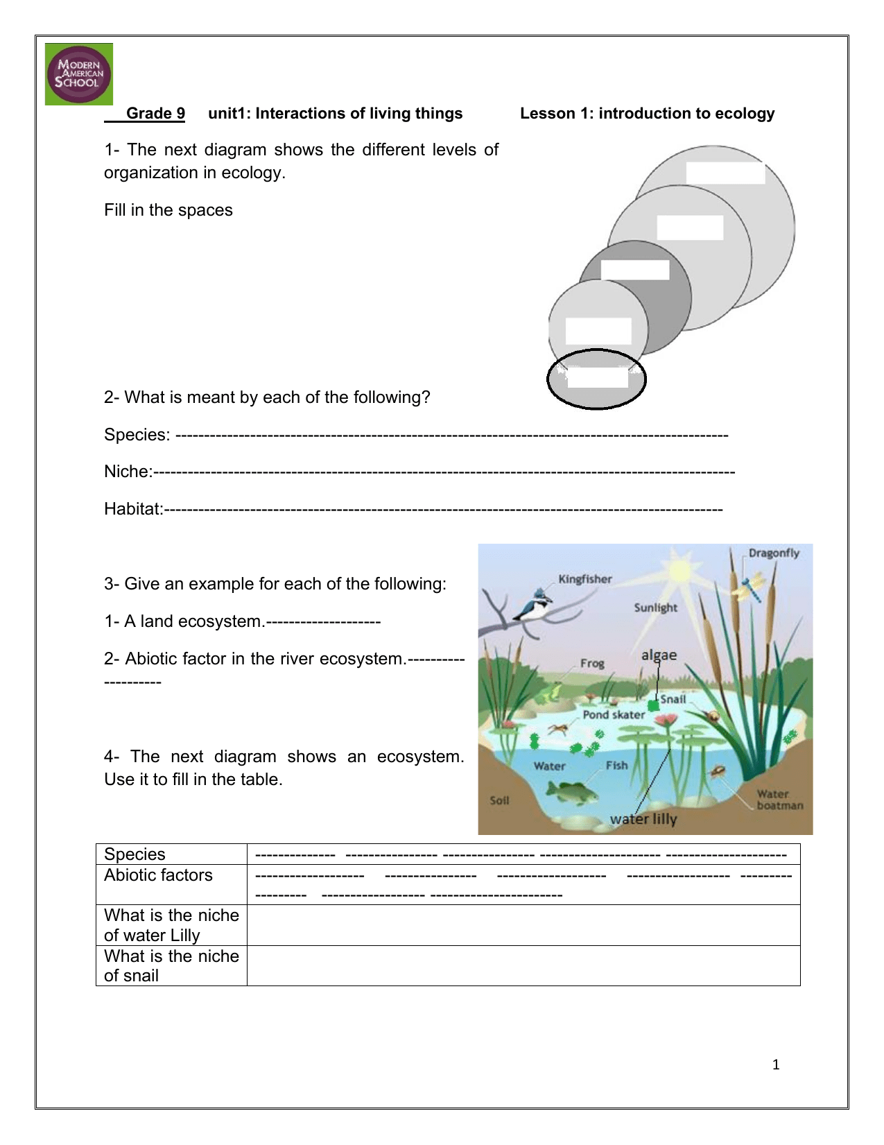Grade 9 Unit 1 Introduction To Ecology Worksheet
