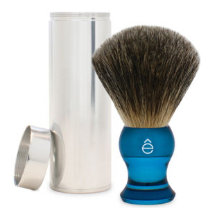 e-Shave Fine Badger Travel Shaving Brush with Canister - Blue