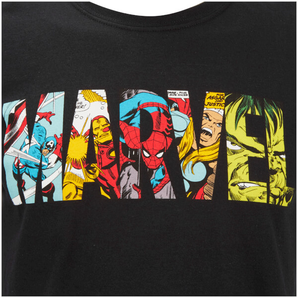 Marvel Mens Comic Strip Logo T Shirt Black Merchandise