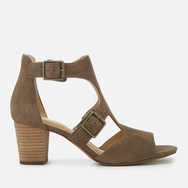 Clarks Women's Deloria Kay Suede Block Heeled Sandals - Olive