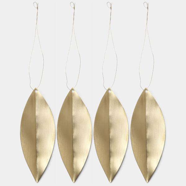 Ferm Living Leaf Brass Ornaments (Set of 4)