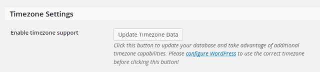 Screenshot showing the time zone data update tool
