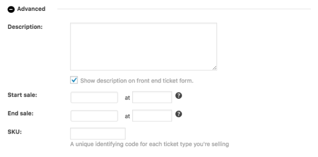 Advanced fields for a ticket