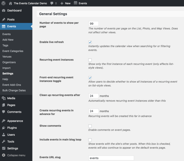 Customize your event settings to get the look you want by going to Events, Settings, General.