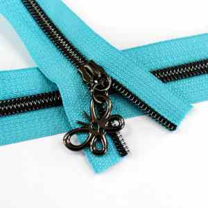 #5-Nylon-Coil-Zipper-turquoise-with-gunmetal-teeth-butterfly-pulls