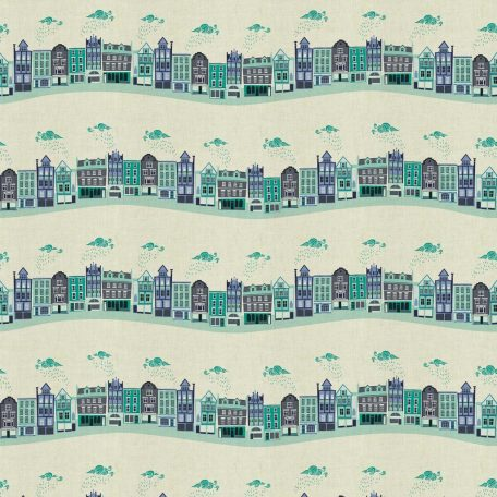 London Town - Kings Road - Teal Unbleached Fabric