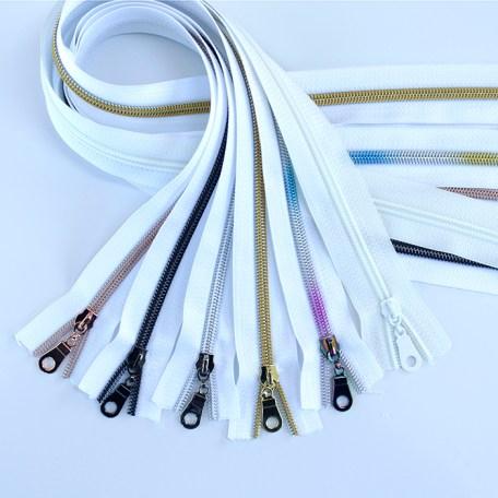 #5 White zippers sampler