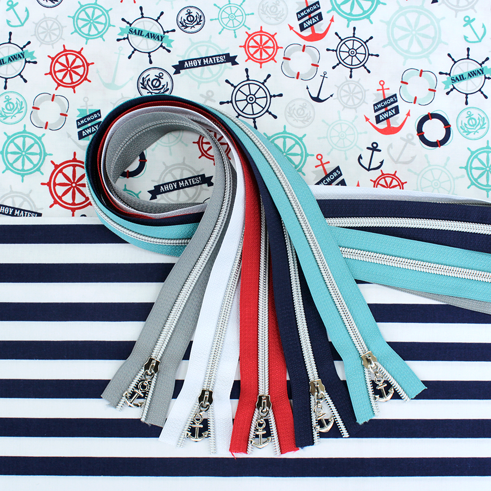 Nautical Bag Fabric & Zippers Bundle