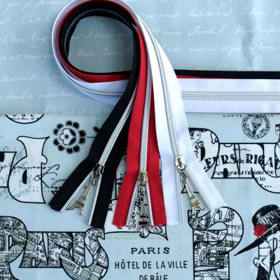 Paris Fabric & Zipper Bundle - Blue