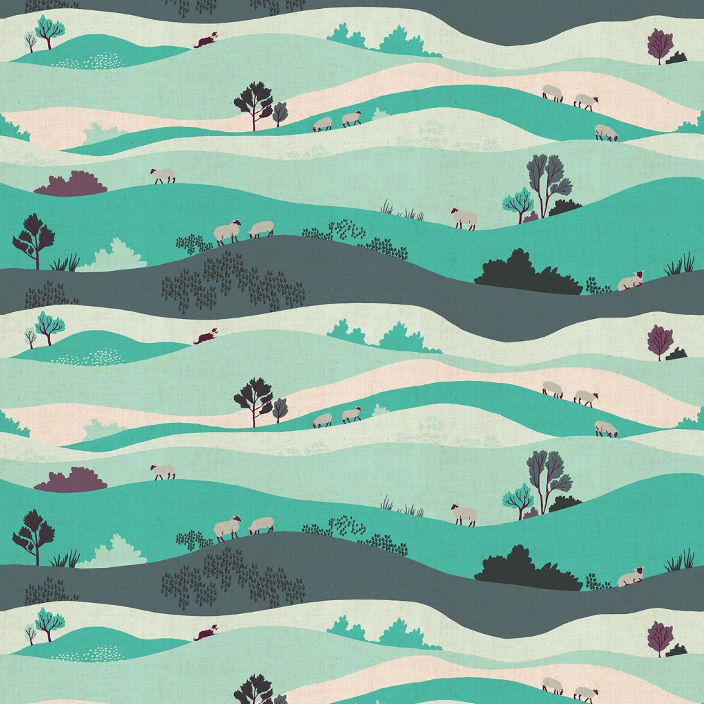 London Town - Box Hill - Teal Unbleached Fabric