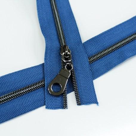 #3 jean blue zipper tape with gunmetal coil